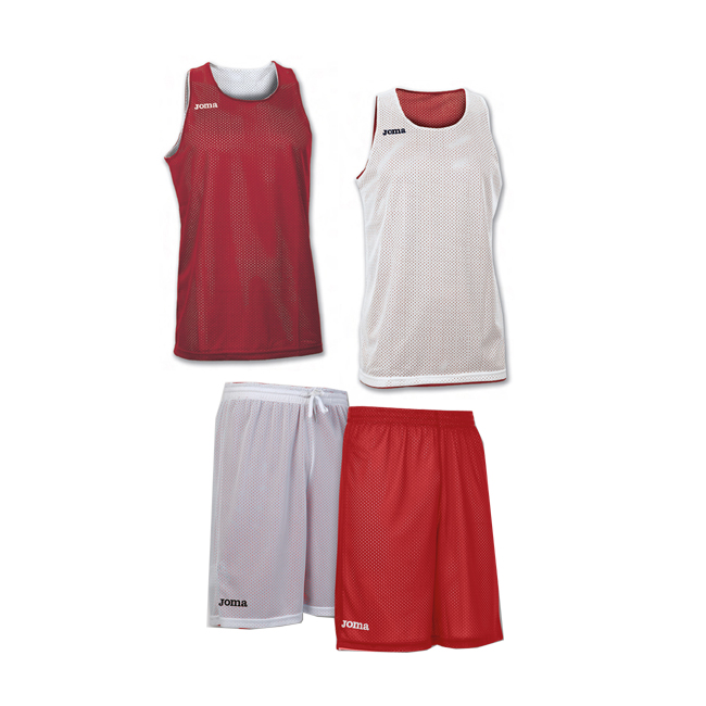 Tenue complete basket reversible Joma Aro 100050 100529 600 Rouge Blanc